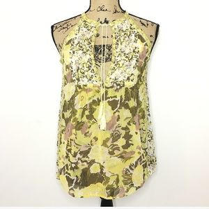 Joie Yellow Green Floral Silk Tank Top Blouse